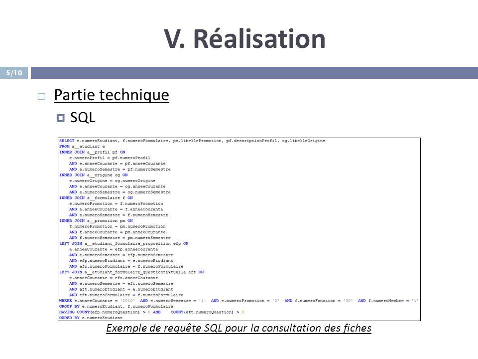 Exemple de requête SQL pour la consultation des fiches