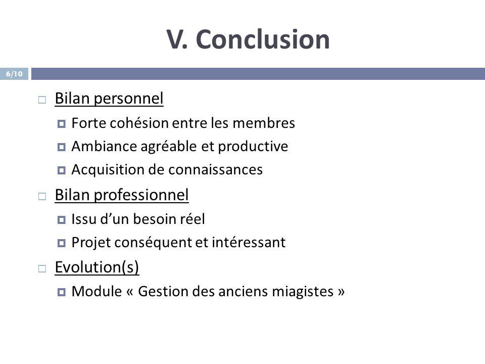 V. Conclusion Bilan personnel Bilan professionnel Evolution(s)