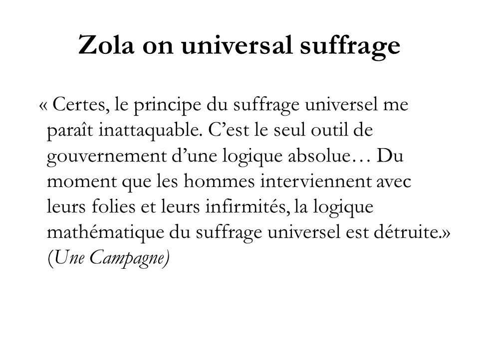 Zola on universal suffrage