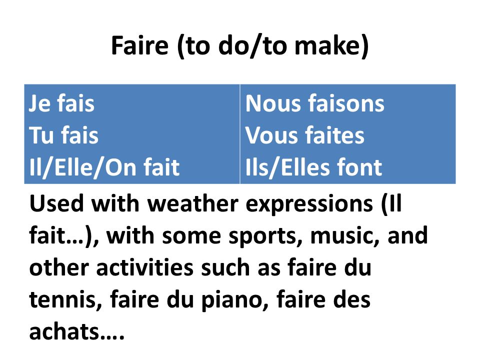 Faire (to do/to make) Je fais Tu fais Il/Elle/On fait Nous faisons