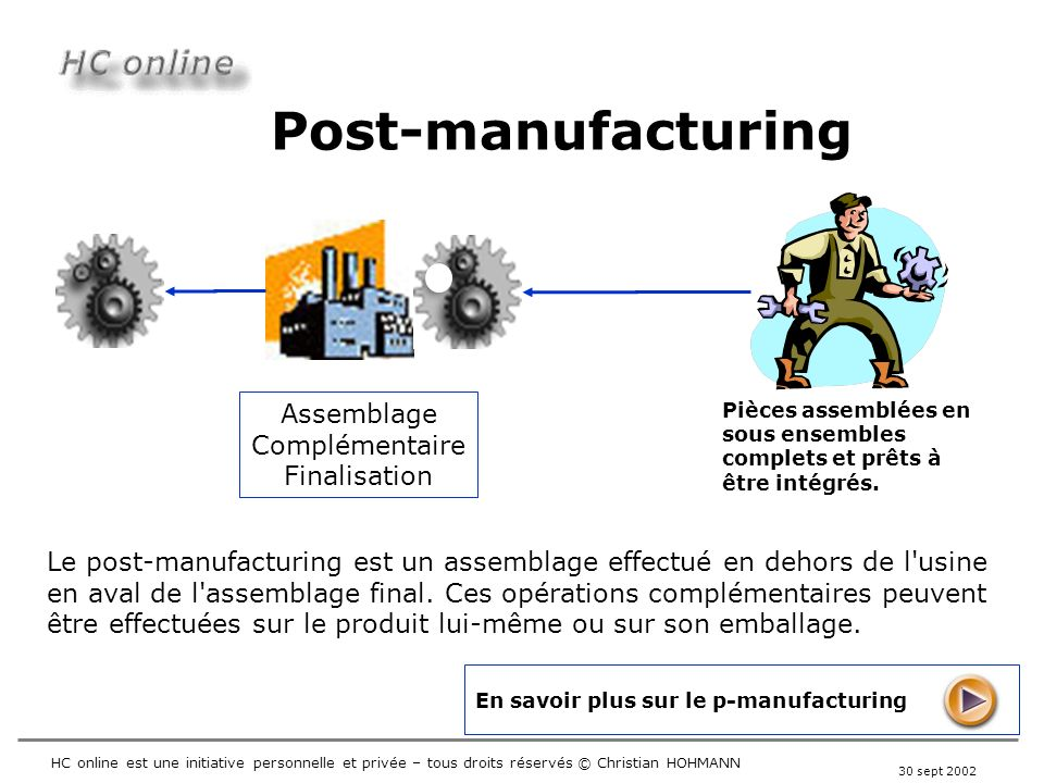 Post-manufacturing Assemblage Complémentaire Finalisation