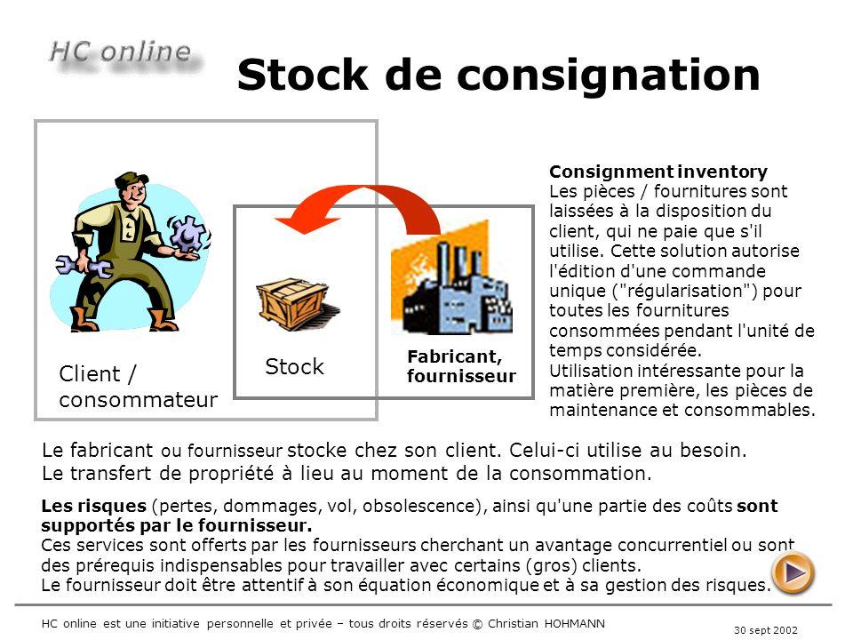 Stock de consignation Stock Client / consommateur