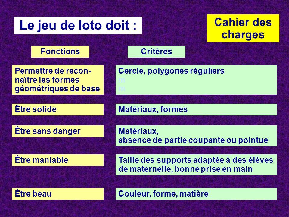 Le jeu de loto doit : Cahier des charges