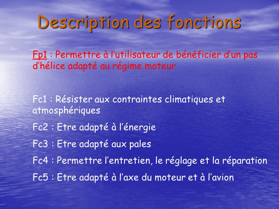Description des fonctions