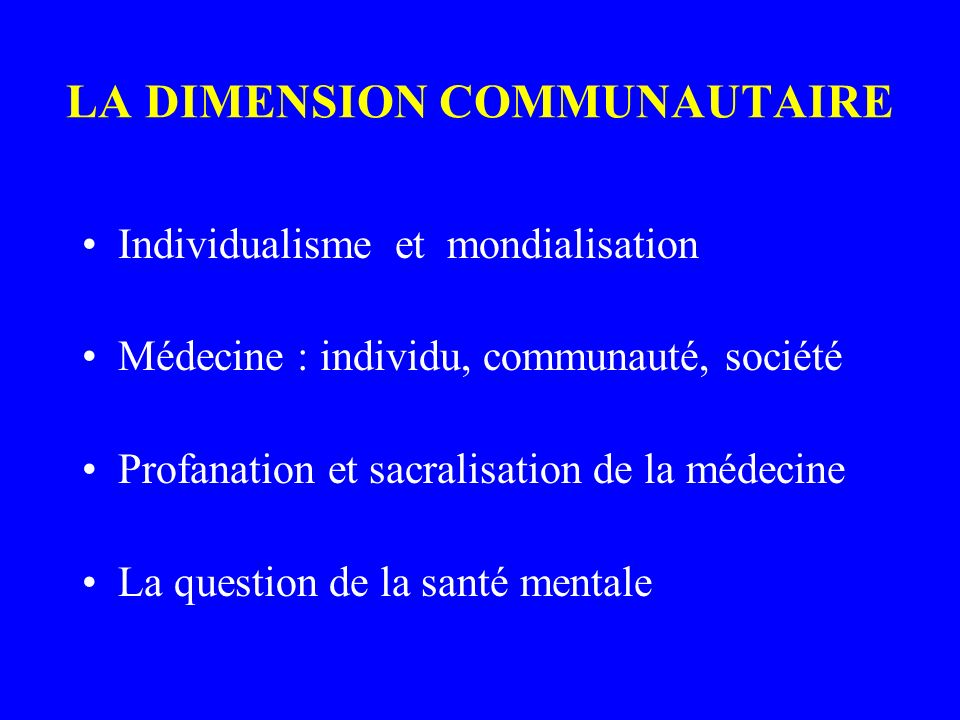 LA DIMENSION COMMUNAUTAIRE