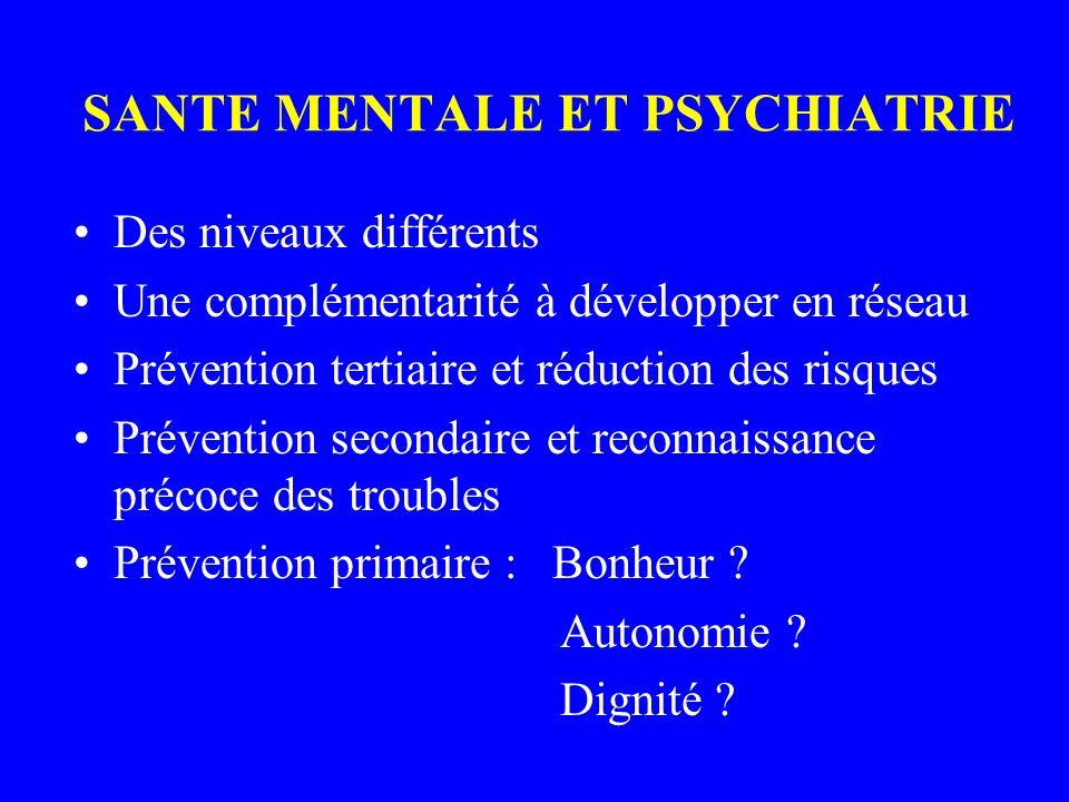 SANTE MENTALE ET PSYCHIATRIE