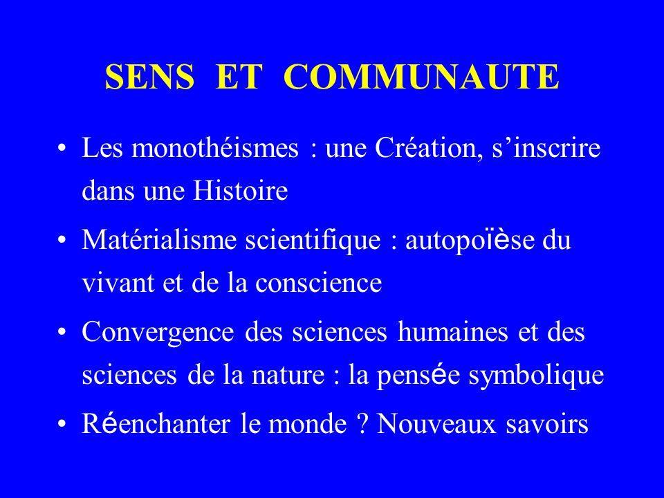 SENS ET COMMUNAUTE Les monothéismes : une Création, s'inscrire dans une Histoire.