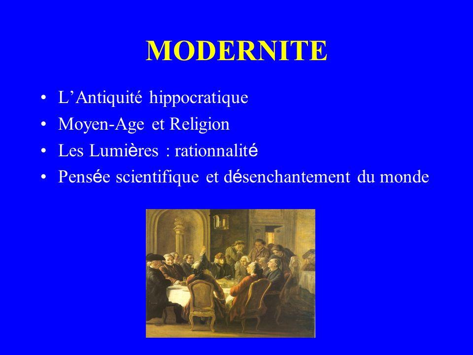 MODERNITE L'Antiquité hippocratique Moyen-Age et Religion