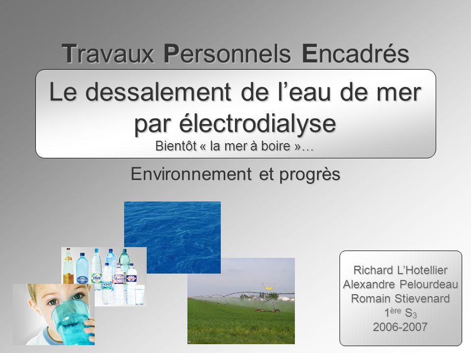 Travaux Personnels Encadrés Environnement et progrès