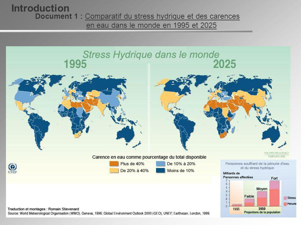 Introduction Document 1 : Comparatif du stress hydrique et des carences en eau dans le monde en 1995 et 2025.