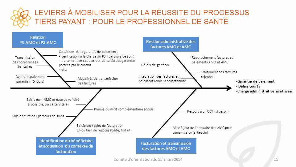 LEVIERS À MOBILISER POUR LA RÉUSSITE DU PROCESSUS TIERS PAYANT : POUR LE PROFESSIONNEL DE SANTÉ