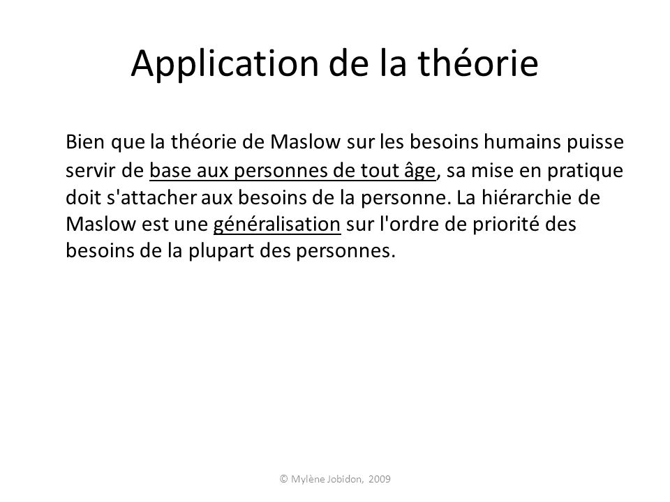 Application de la théorie