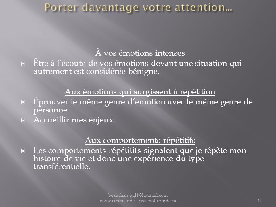 Porter davantage votre attention...