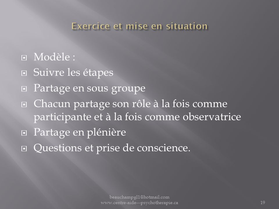 Exercice et mise en situation
