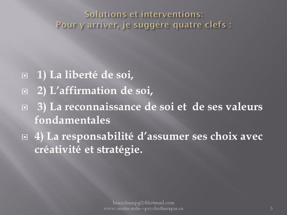 Solutions et interventions: Pour y arriver, je suggère quatre clefs :