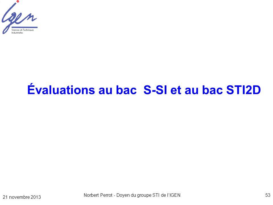 Évaluations au bac S-SI et au bac STI2D