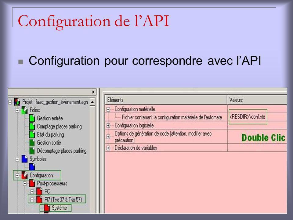 Configuration de l'API