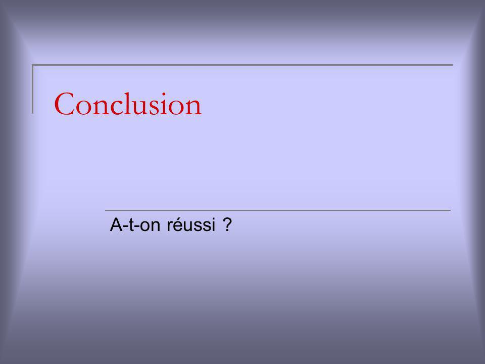 Conclusion A-t-on réussi