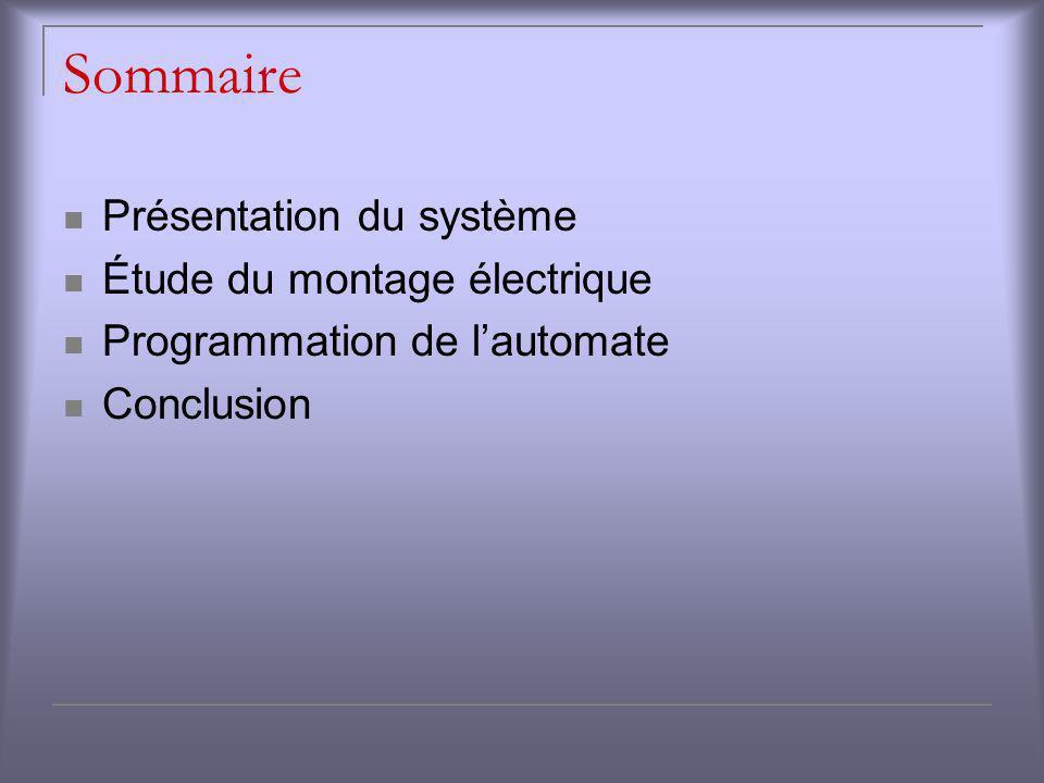 Sommaire Présentation du système Étude du montage électrique