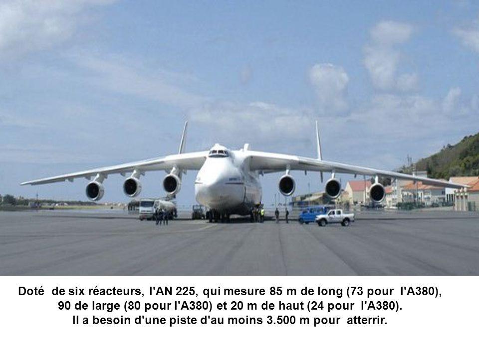 90 de large (80 pour l A380) et 20 m de haut (24 pour l A380).