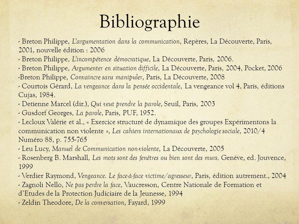 Bibliographie - Breton Philippe, L'argumentation dans la communication, Repères, La Découverte, Paris, 2001, nouvelle édition : 2006.