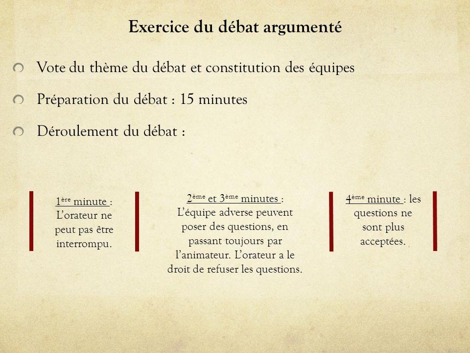 Exercice du débat argumenté