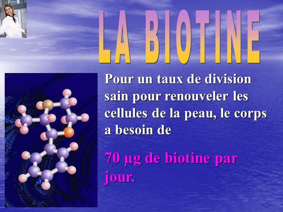 70 µg de biotine par jour. LA BIOTINE