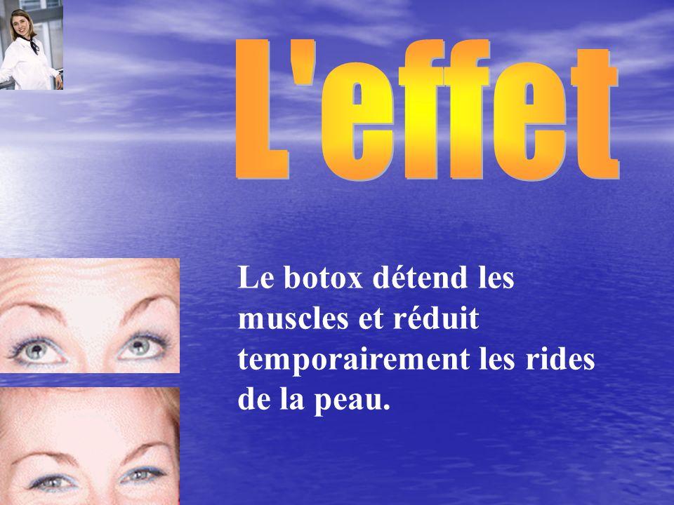 L effet Le botox détend les muscles et réduit temporairement les rides de la peau.