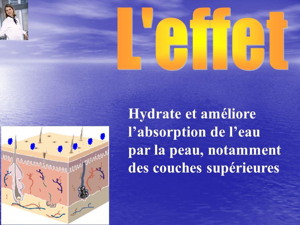 L effet Hydrate et améliore l'absorption de l'eau par la peau, notamment des couches supérieures