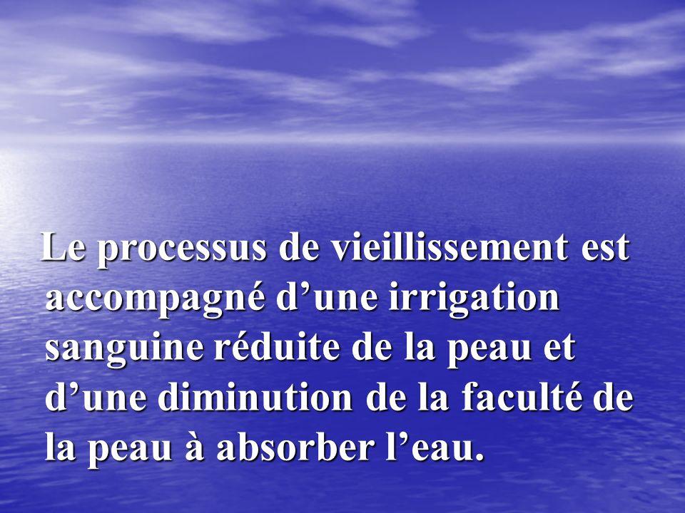 Le processus de vieillissement est accompagné d'une irrigation sanguine réduite de la peau et d'une diminution de la faculté de la peau à absorber l'eau.
