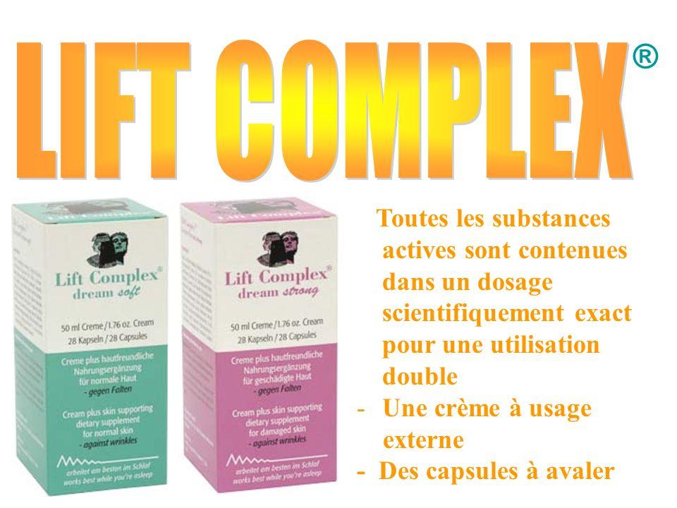 ® LIFT COMPLEX. Toutes les substances actives sont contenues dans un dosage scientifiquement exact pour une utilisation double.