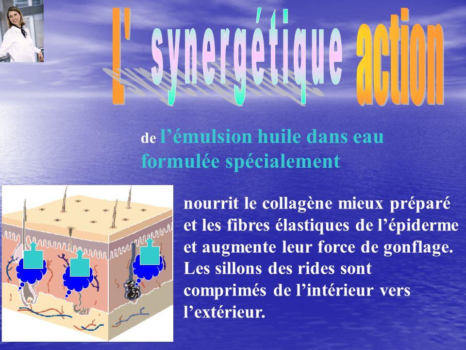 L action synergétique. de l'émulsion huile dans eau formulée spécialement.