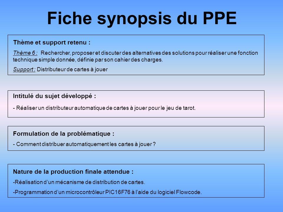 Fiche synopsis du PPE Thème et support retenu :