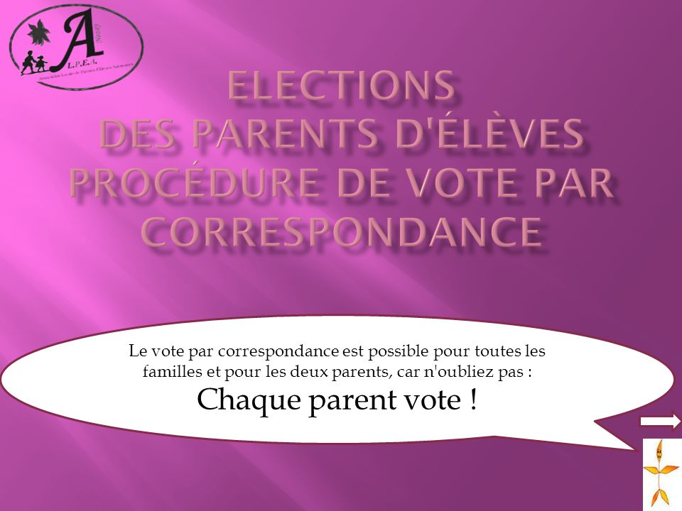 Elections des parents d élèves Procédure de vote par correspondance