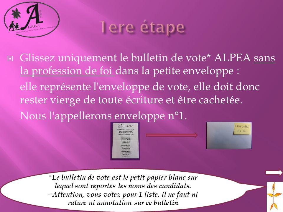1ere étape Glissez uniquement le bulletin de vote* ALPEA sans la profession de foi dans la petite enveloppe :
