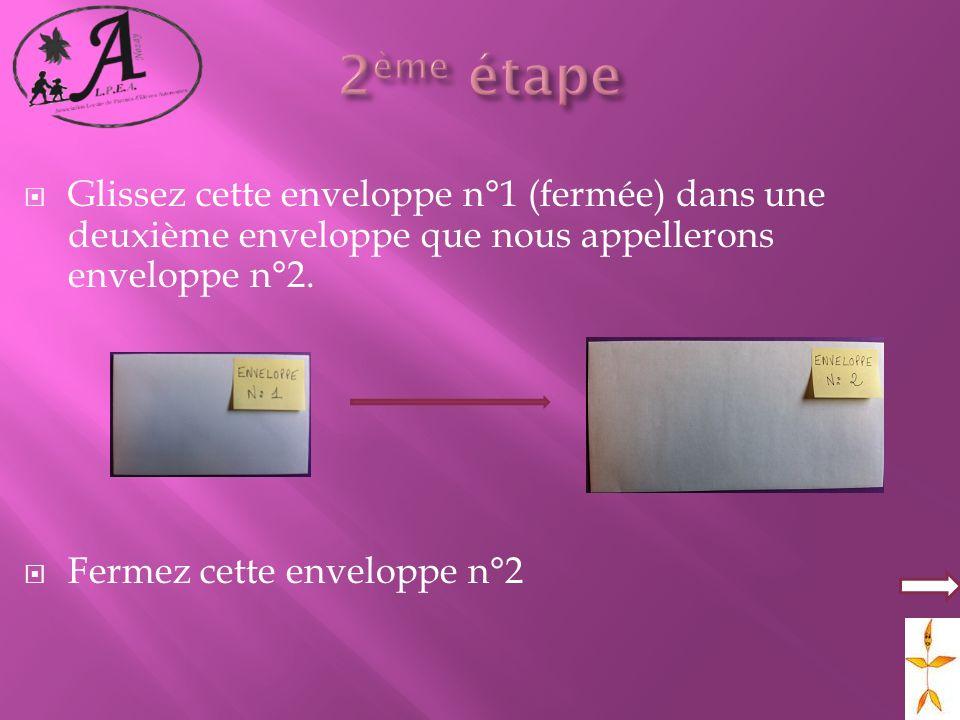 2ème étape Glissez cette enveloppe n°1 (fermée) dans une deuxième enveloppe que nous appellerons enveloppe n°2.