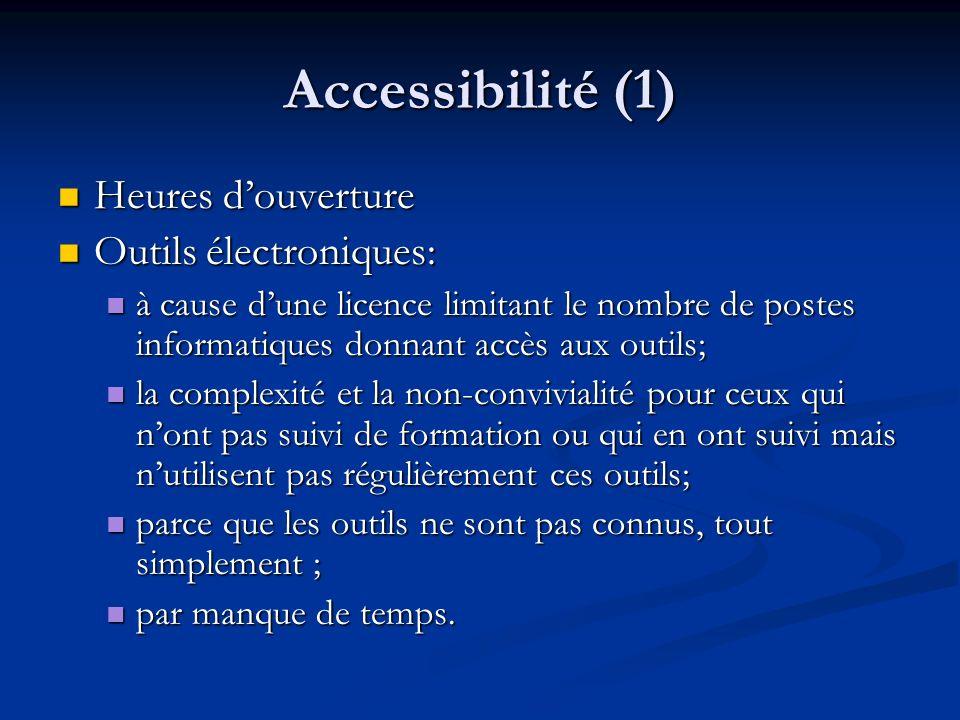 Accessibilité (1) Heures d'ouverture Outils électroniques: