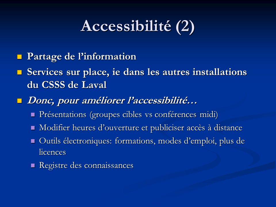 Accessibilité (2) Partage de l'information