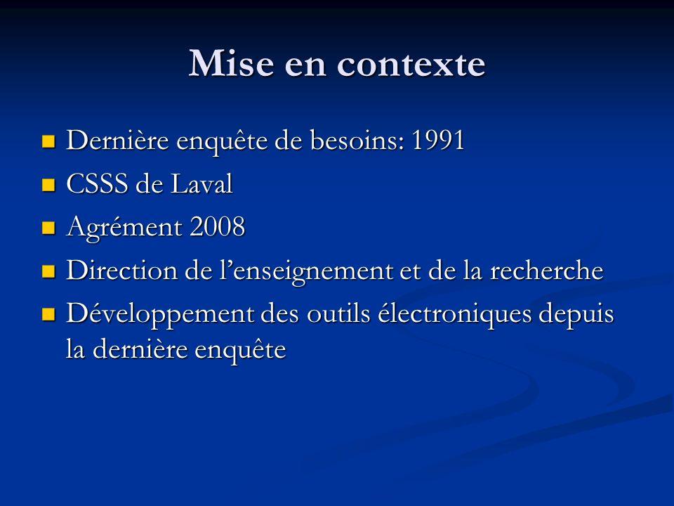 Mise en contexte Dernière enquête de besoins: 1991 CSSS de Laval