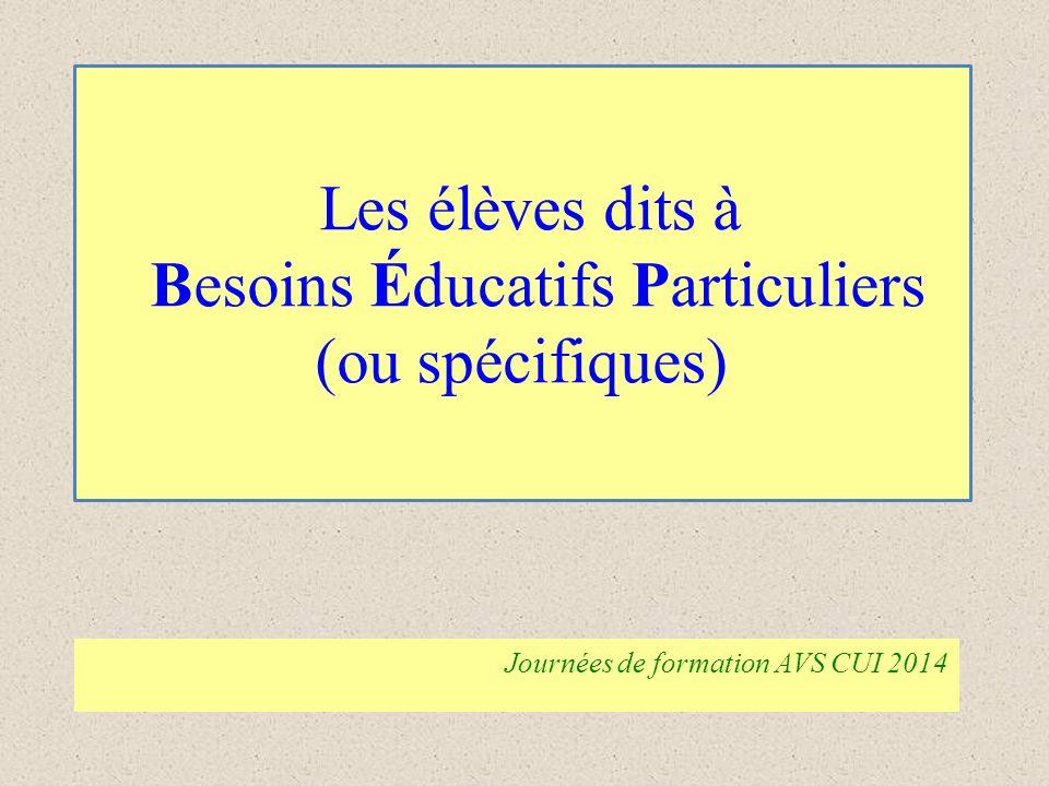 Les élèves dits à Besoins Éducatifs Particuliers (ou spécifiques)