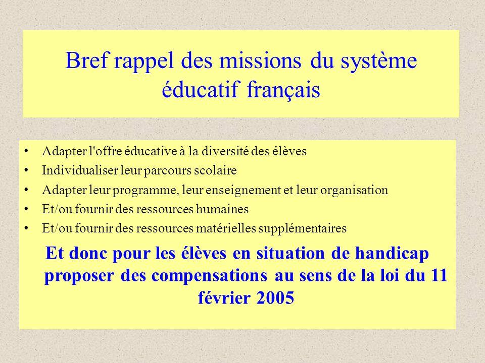 Bref rappel des missions du système éducatif français