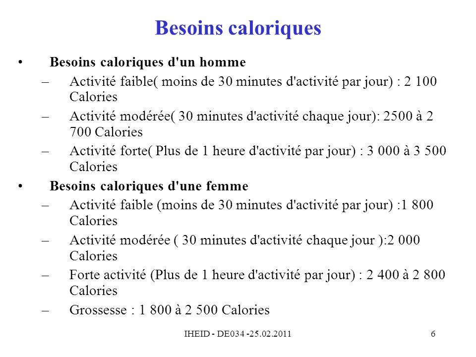 Besoins caloriques Besoins caloriques d un homme
