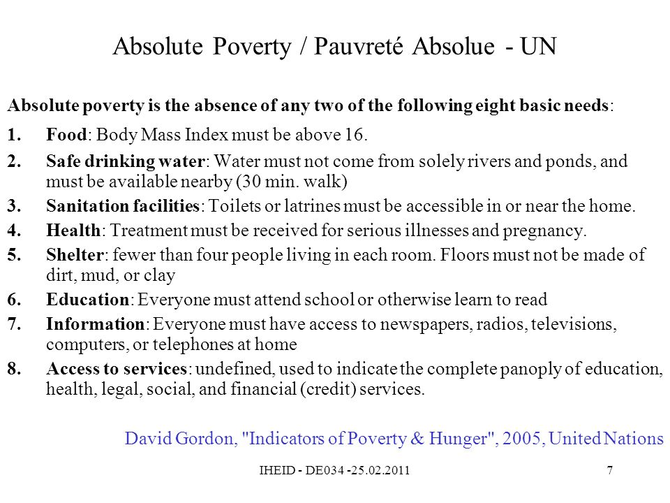Absolute Poverty / Pauvreté Absolue - UN