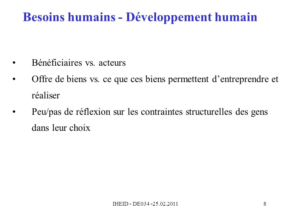 Besoins humains - Développement humain