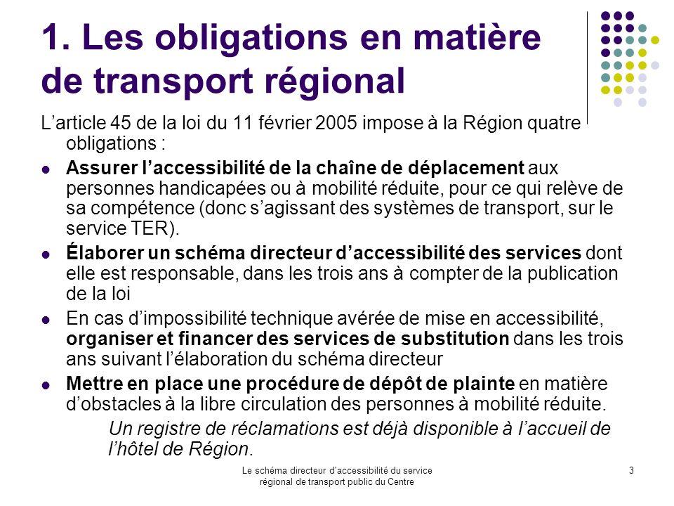 1. Les obligations en matière de transport régional