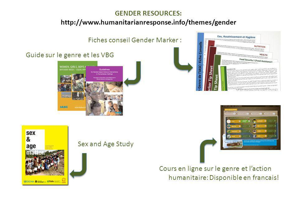 GENDER RESOURCES: http://www.humanitarianresponse.info/themes/gender. Fiches conseil Gender Marker :
