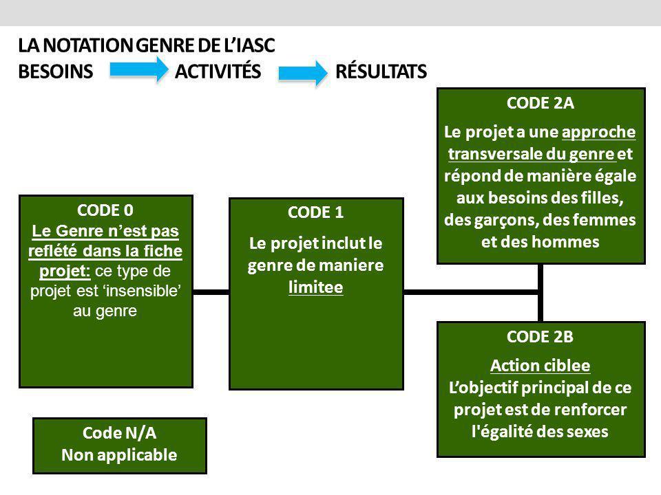 LA NOTATION GENRE DE L'IASC BESOINS ACTIVITÉS RÉSULTATS