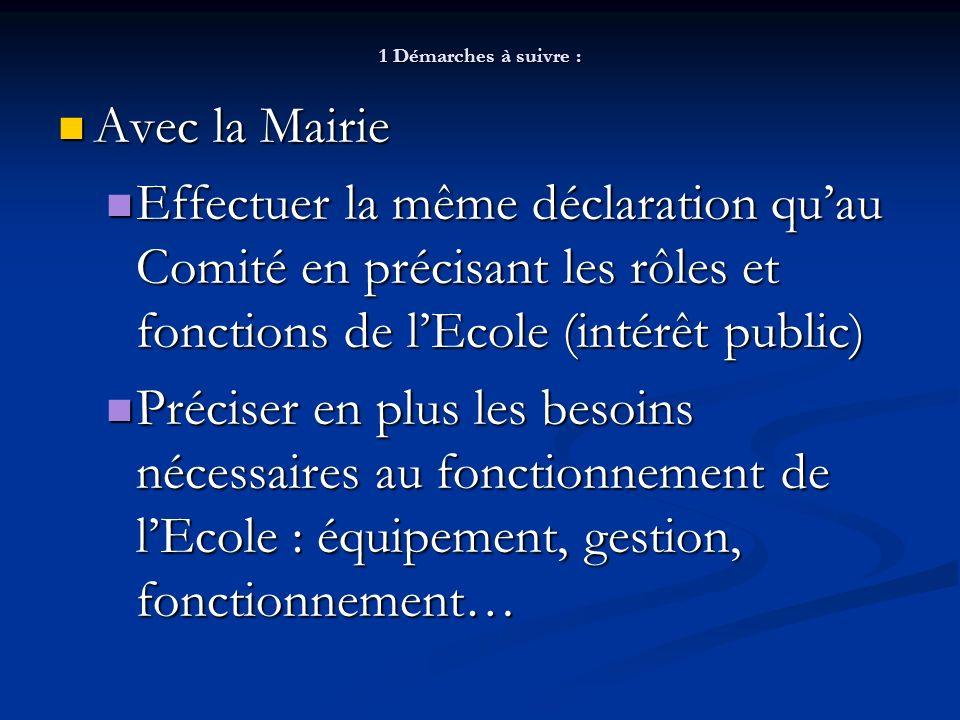 1 Démarches à suivre : Avec la Mairie. Effectuer la même déclaration qu'au Comité en précisant les rôles et fonctions de l'Ecole (intérêt public)