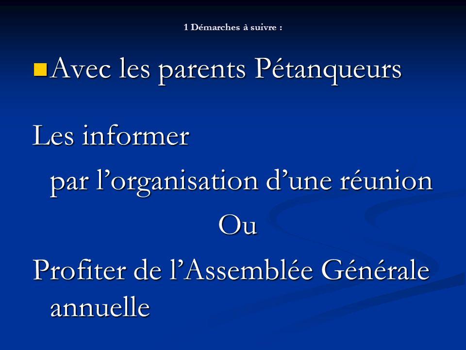 Avec les parents Pétanqueurs Les informer