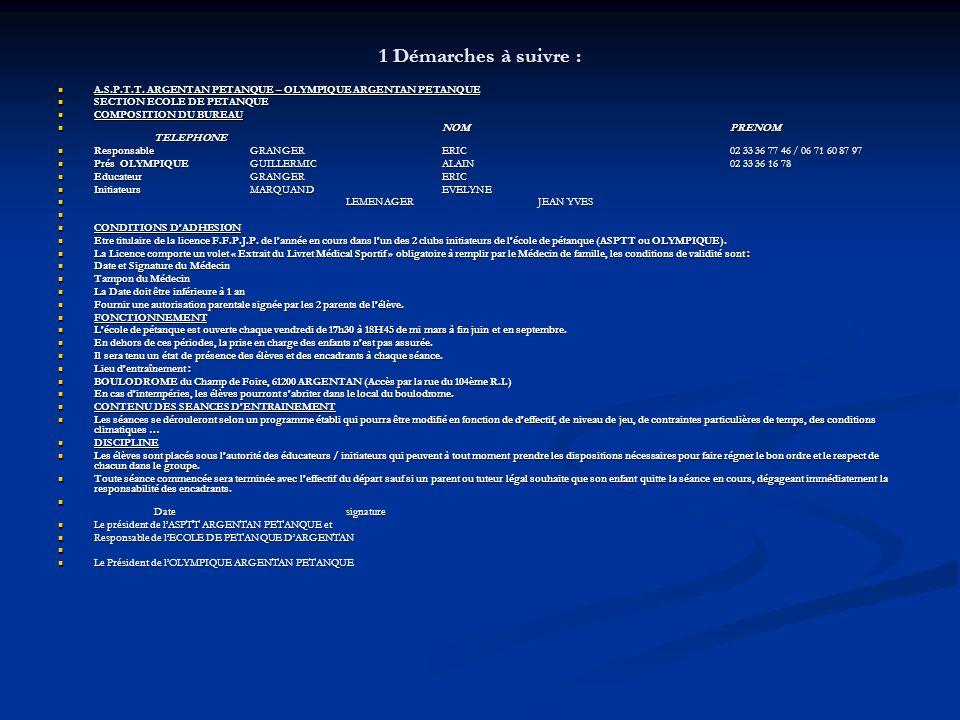 1 Démarches à suivre : A.S.P.T.T. ARGENTAN PETANQUE – OLYMPIQUE ARGENTAN PETANQUE. SECTION ECOLE DE PETANQUE.